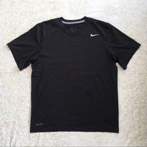 Nike Dri Fit Activewear Shirt Large Solid Black